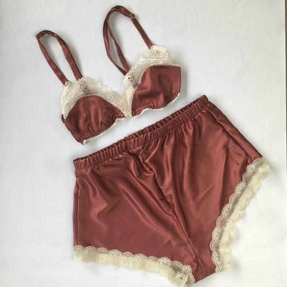 6286d31a3 MEGAN beautiful Silk lingerie set. Soft cup bra and french knickers.  nightwear lingerie. High waist