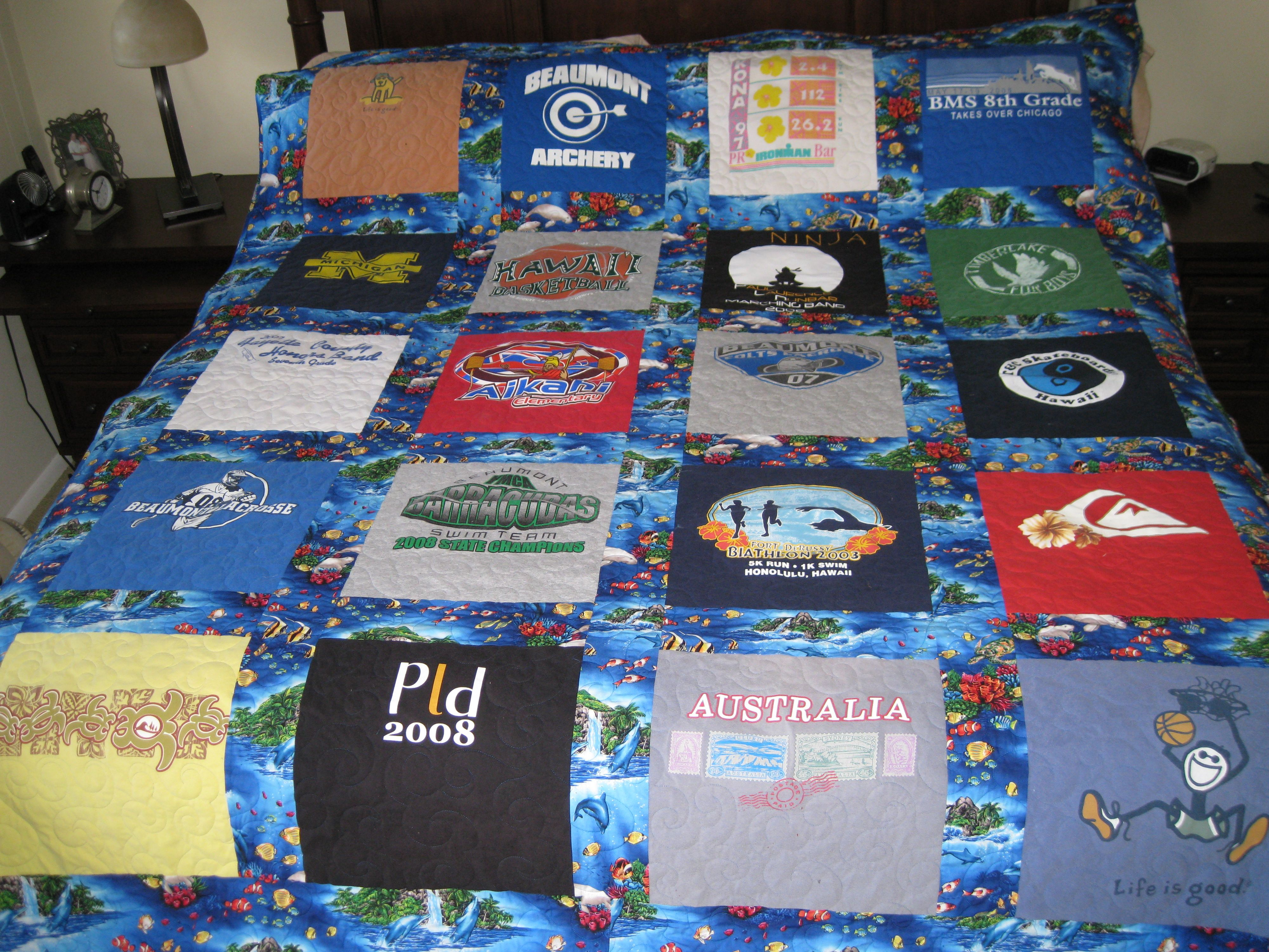 T-shirt quilt made with Hawaiian print sashing.   Quilts and other ...