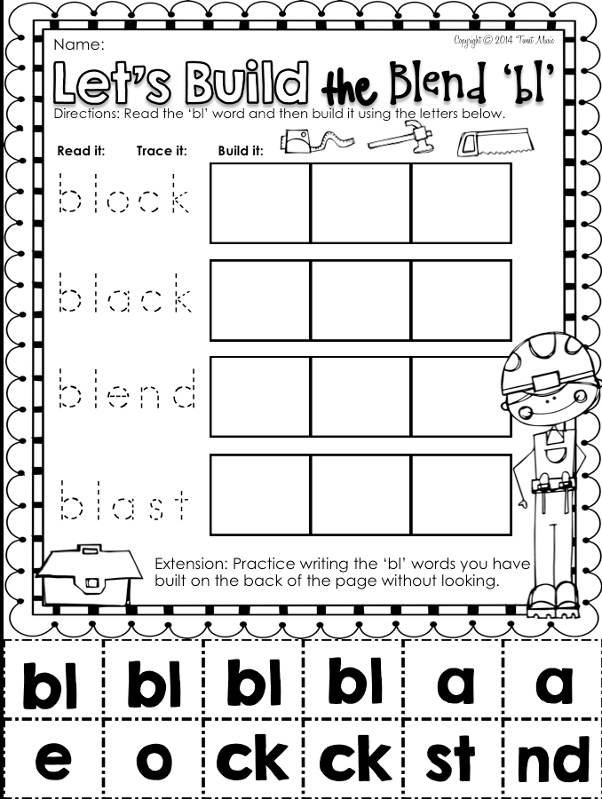 FREEBIE ~ Blends Phonics NO PREP Printables for \
