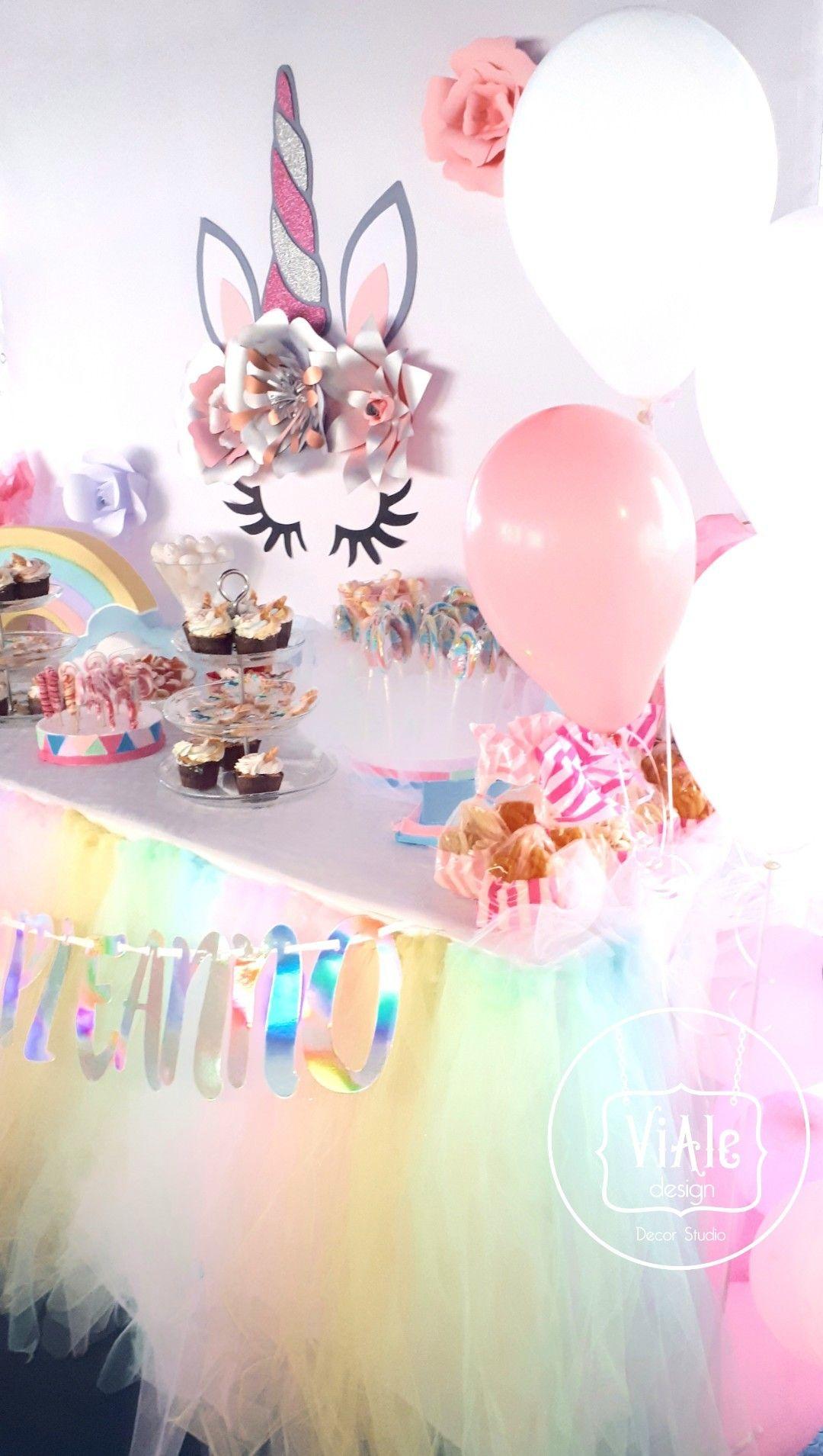Come Addobbare Un Tavolo Per Confettata birthday unicorn compleanno unicorno tema allestimento festa