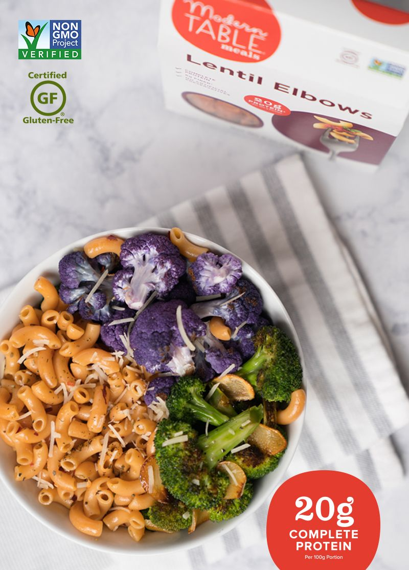 Modern Table Lentil Elbow Pasta Is A Great Pantry Staple For A High Protein Gluten Free Or Vegan Diet Made With Food Protein Veggie Meals High Protein Pasta