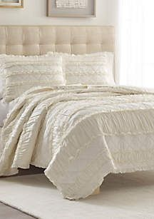 Ivory Ruffle Quilt Set Ruffle Quilt Quilt Sets King Quilt Sets