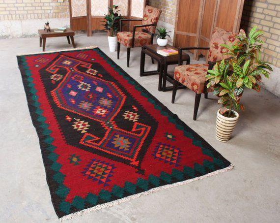 Antique Kilim Teppich Oriental Wool Persian Boho Rug Hand