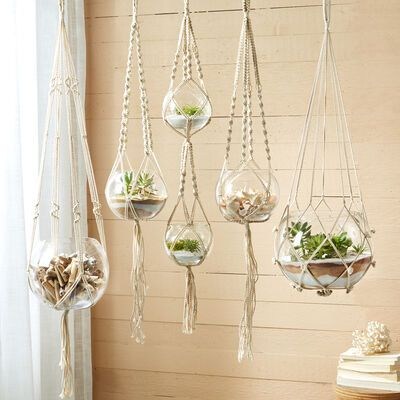 Set of Five Macrame Candleholder Plant Hangers with Cotton Rope and Glass Bowls | Ross-Simons