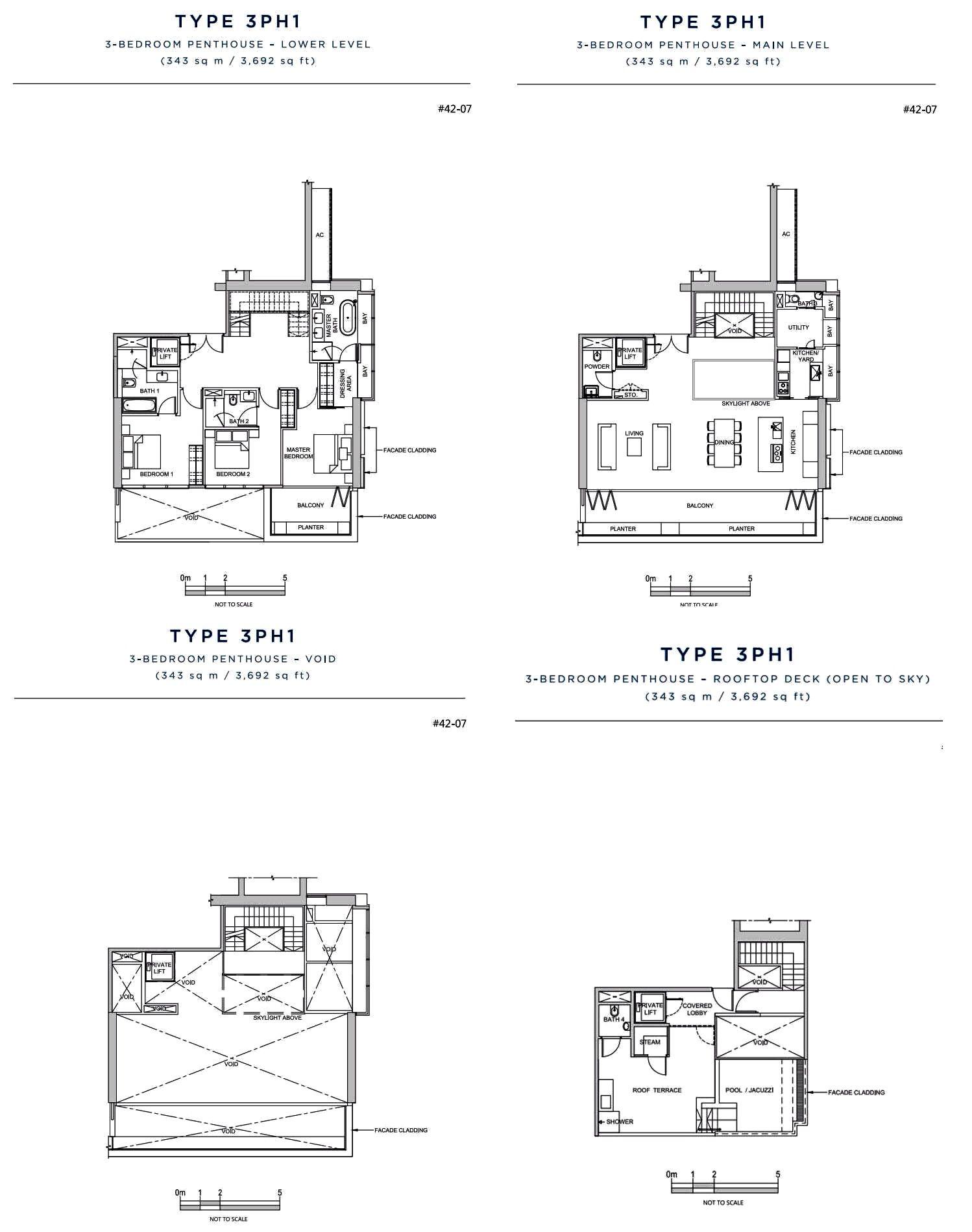 South Beach Residences Singapore Penthouse 3 Bedroom Pent House Floor Plans Penthouse