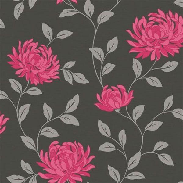 Arthouse Wallpaper L Amour Black Pink Botanical Drawings Floral Wallpaper Teal Art