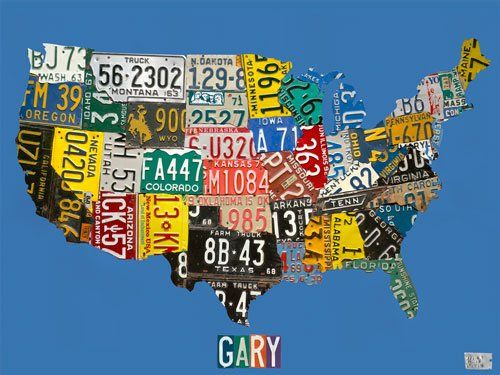 License Plate USA map | On the walls | Pinterest