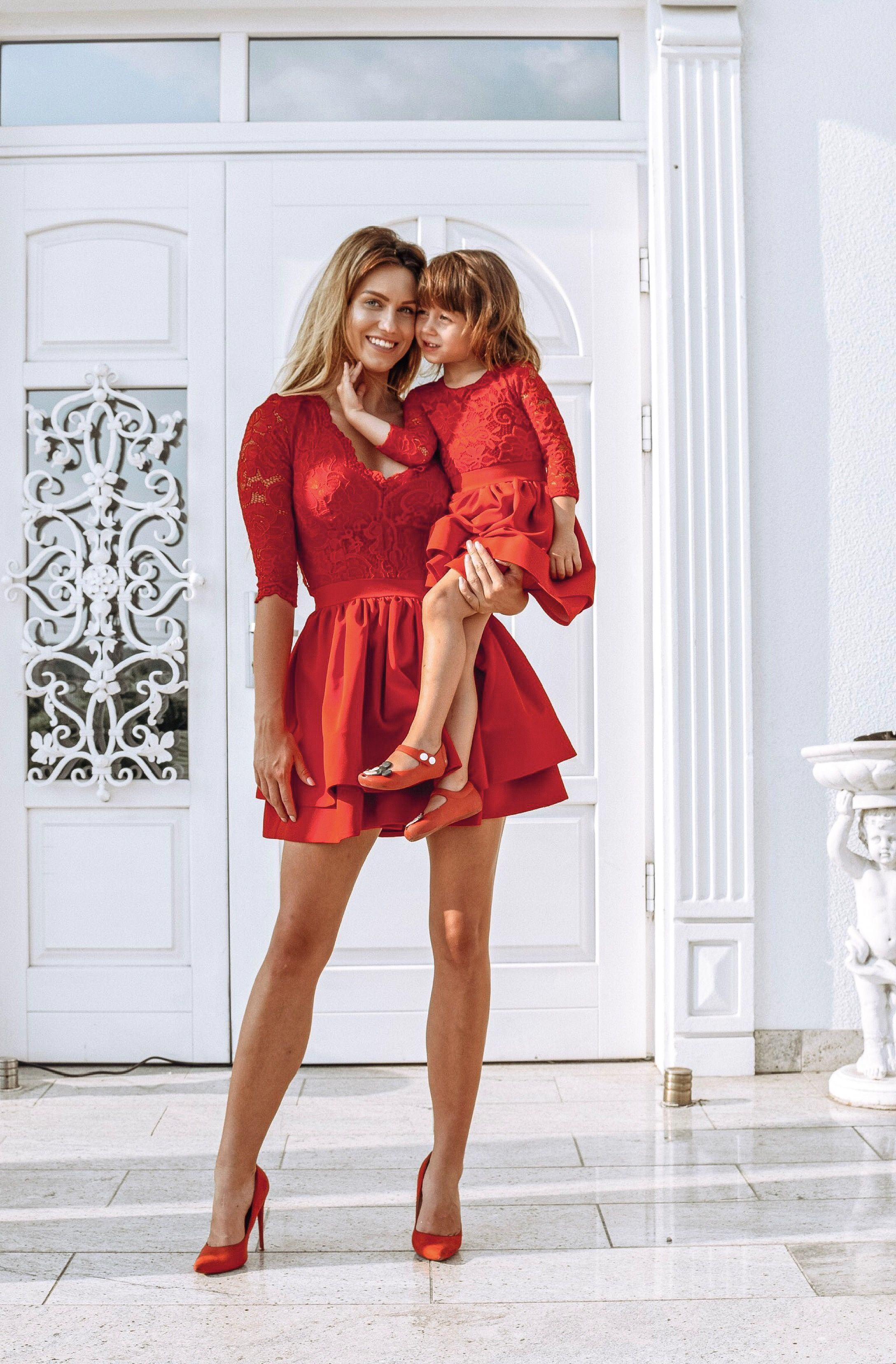 Christmas red lace dress dress for mom and daughter