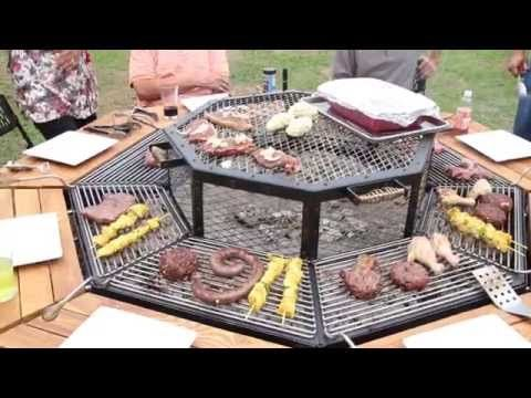 This Fire Pit Grill And Table Combo Is Every Man S Dream Bbq Table Barbeque Restaurants Communal