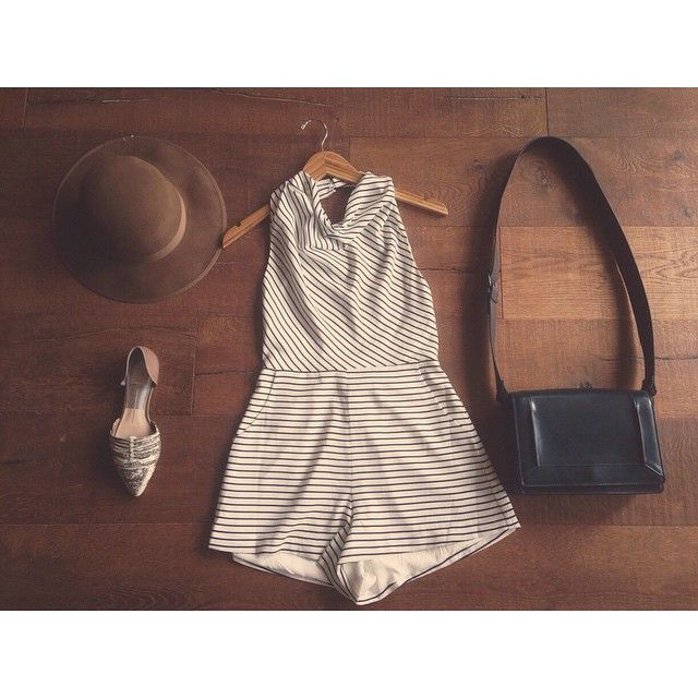 We only have a couple left of this adorable black/white striped halter romper by @finderskeepersthelabel in a size S! Throw it on with a hat and some flats and you have the perfect summer outfit! Available in store, by phone order, or via PayPal! Comment your email for PayPal. Romper: only size S left $140 hat: $40 shoes: $141