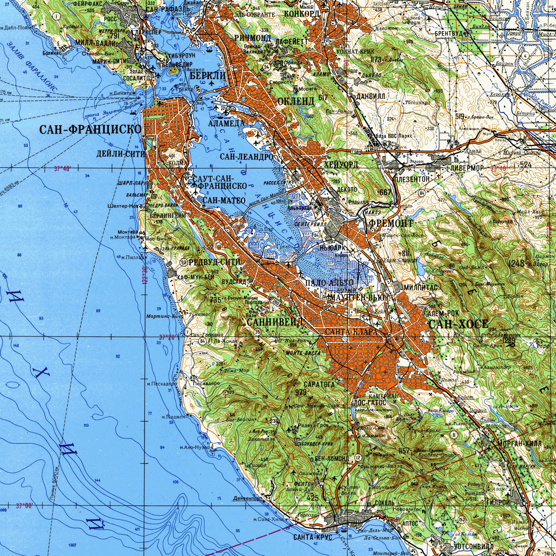 Soviet topographic map of San Francisco Bay Area 1980 MAPS