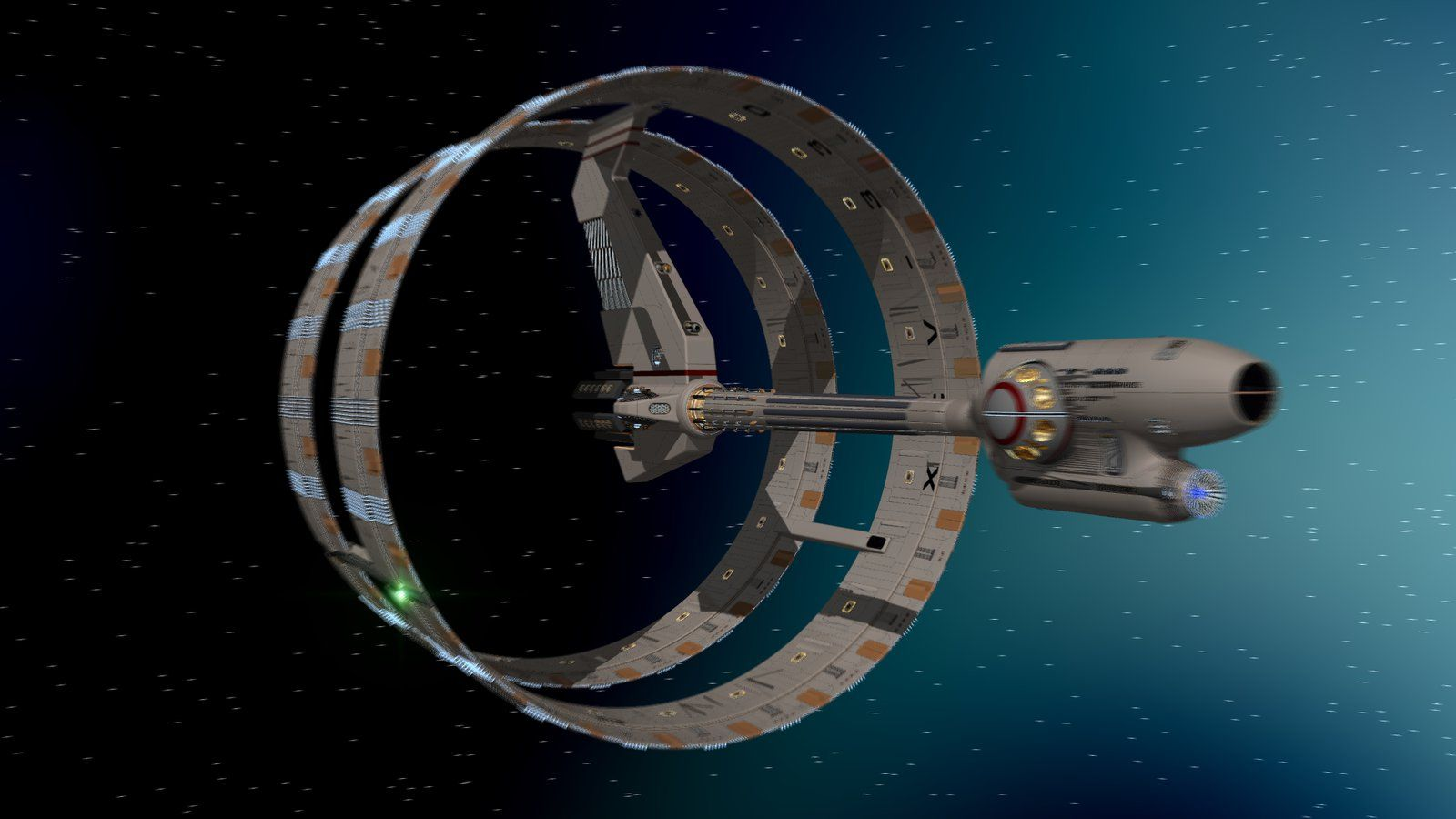 "Star Trek, Enterprise, XCV-330, Declaration Class, ""Ring Ship,"" Original Mesh by WideFoot. converted to Lightwave and rendered by archangel72367"