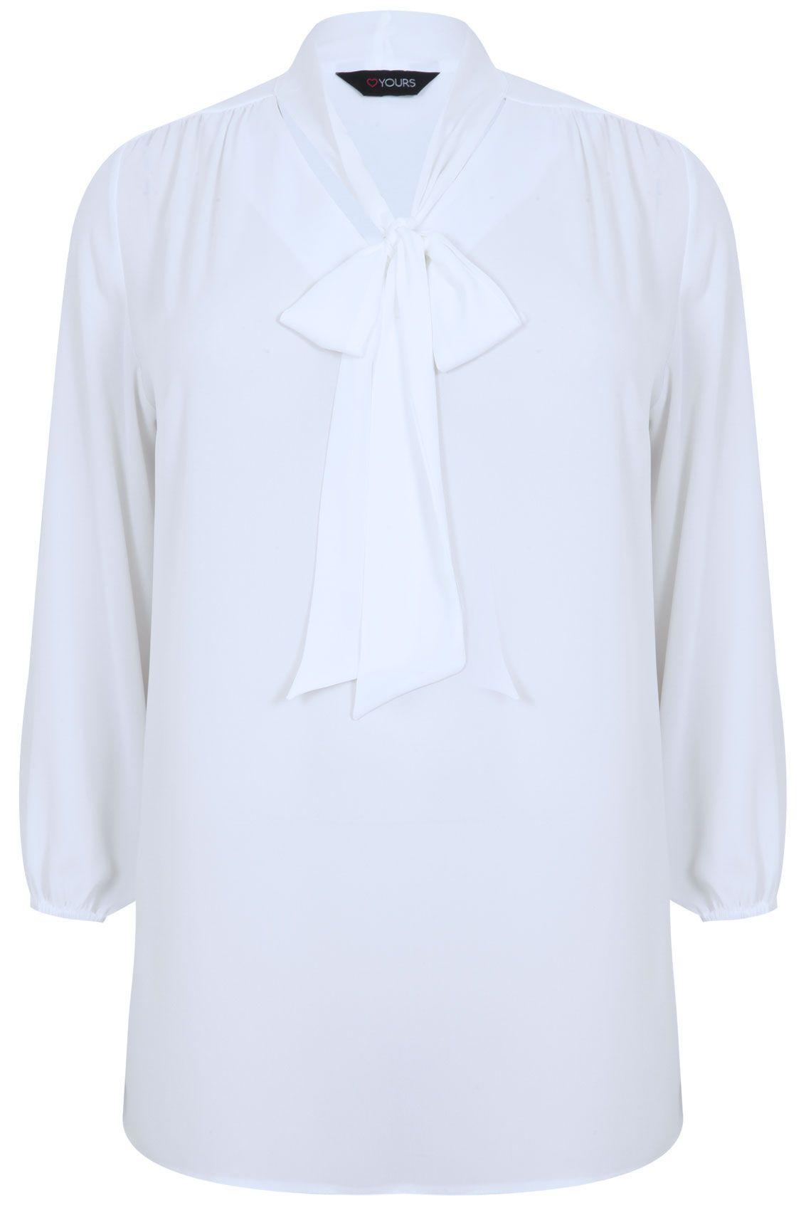 Ivory long sleeve chiffon pussy bow blouse simple closet