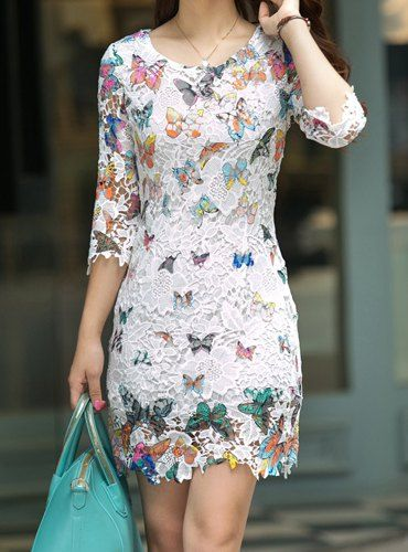 $15.48 Vintage Scoop Neck 3/4 Sleeve Butterfly Pattern Lace Dress For Women