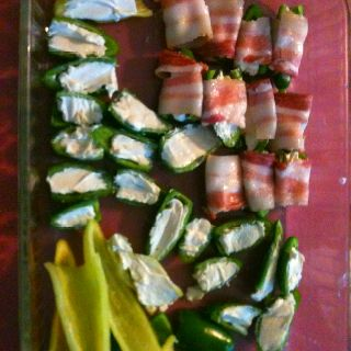 Yummy jalapeño, cream cheese, bacon wrapped thingie. Absolutely delicious!