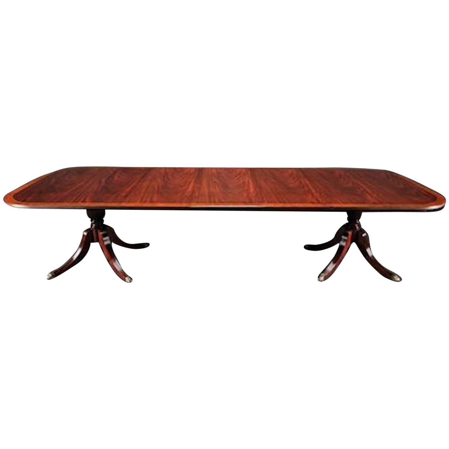 Georgian Style Mahogany and Satinwood Dining Room Table Dining