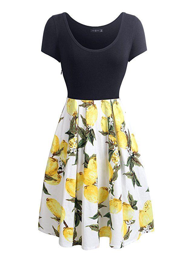 Womens Summer Short Sleeve Round Neck Lemon Print Slim Fit Casual Work Dress S at Amazon Women's Clothing store: