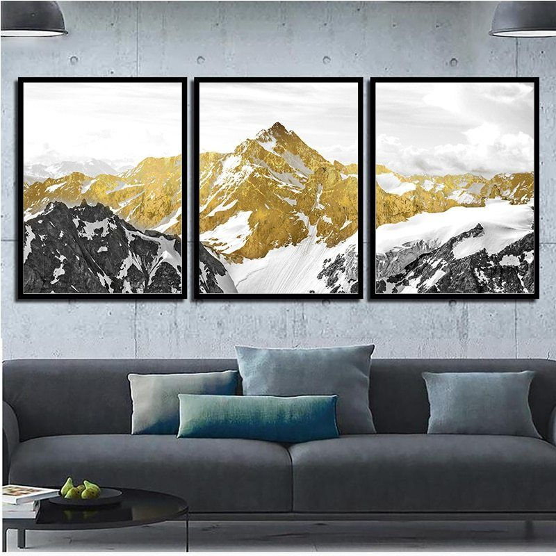 Nordic Abstract Wall Art Geometric Mountain Landscape Canvas Painting Golden Sun Art Poster Print Wall Picture For Living Room In 2020 Landscape Wall Art Abstract Wall Art Wall Art Canvas Painting