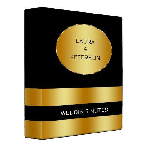 Gold Foil Faux Glitter Wedding 3 Ring Binder