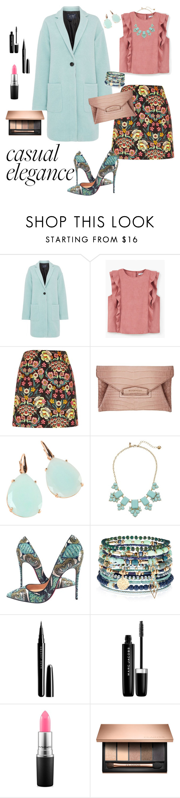 """""""Ruffles"""" by sara12alexandra ❤ liked on Polyvore featuring Armani Jeans, MANGO, Givenchy, Rina Limor, Kate Spade, Christian Louboutin, Accessorize, Marc Jacobs, MAC Cosmetics and GREEN"""