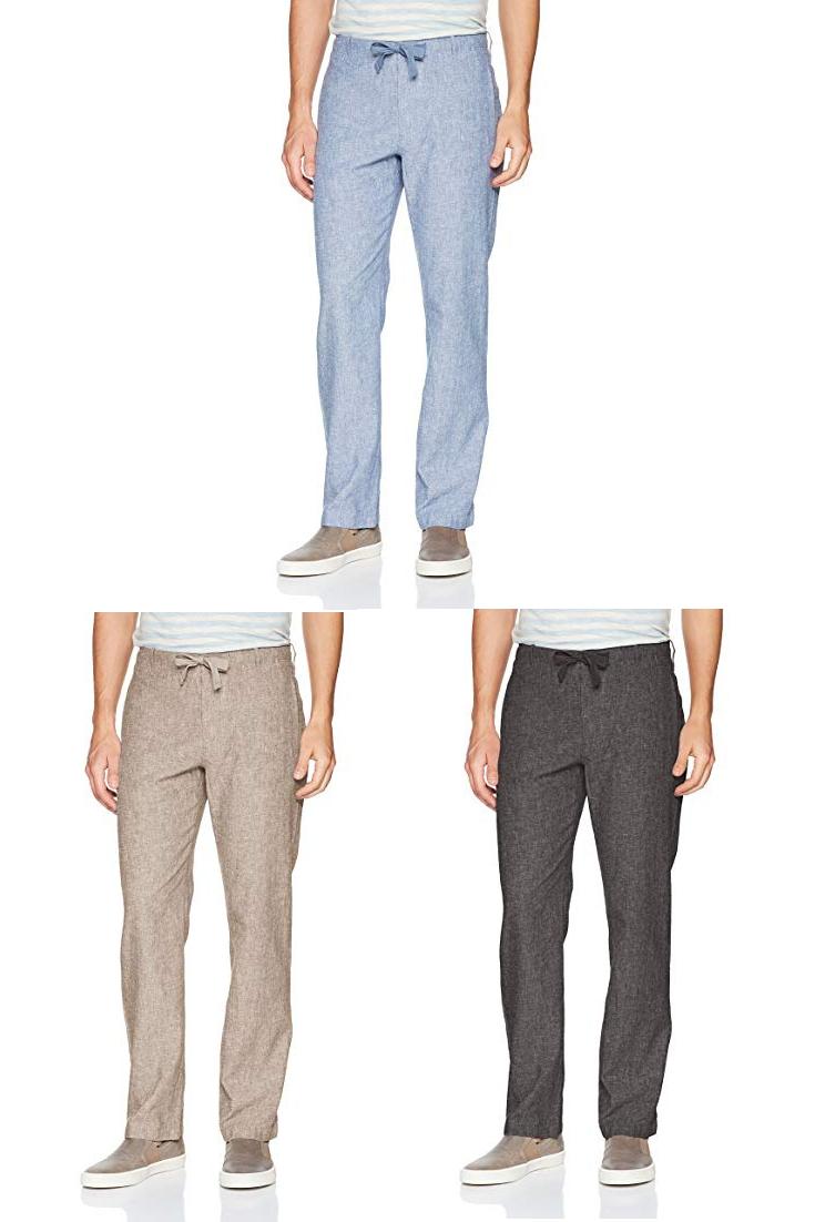 Perry Ellis Men S Linen Cotton Drawstring Pant Men Black Linen Pants