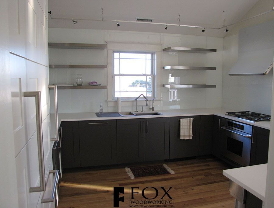 Dark Cabinets With Stainless Shelves