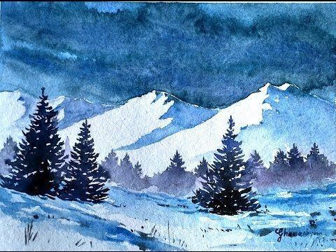 Verschneite Winterlandschaft mit Aquarell #winterlandscape