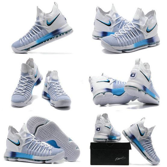 d66d833bab97 New Nike Cheap KD 9 Elite Ice Blue White Pure Platinum Newest Kevin Durant  Shoes