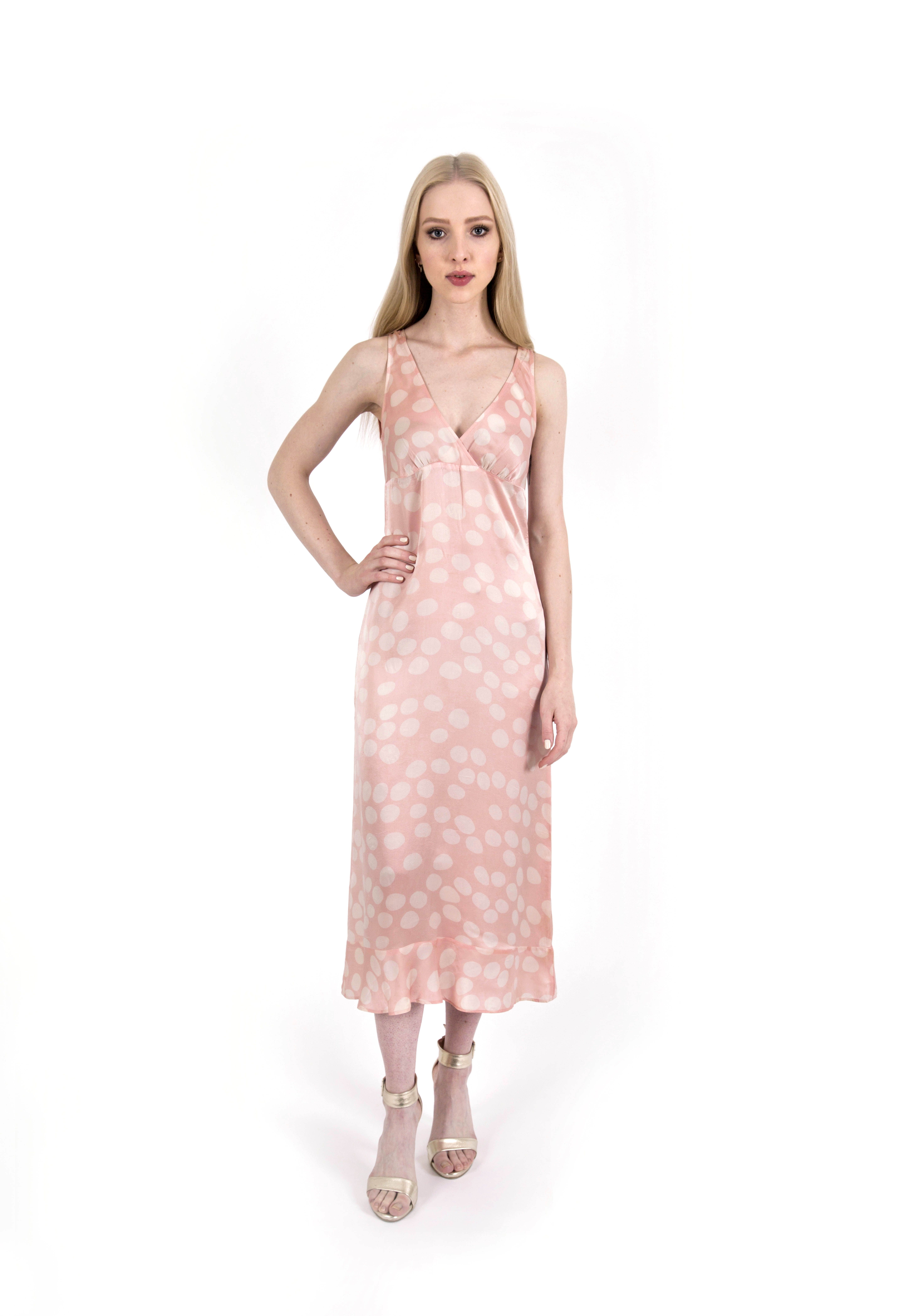 cd4a687718252 Our Closet Joseph Vintage pink polka dot midi dress. A lovely and easy to  wear