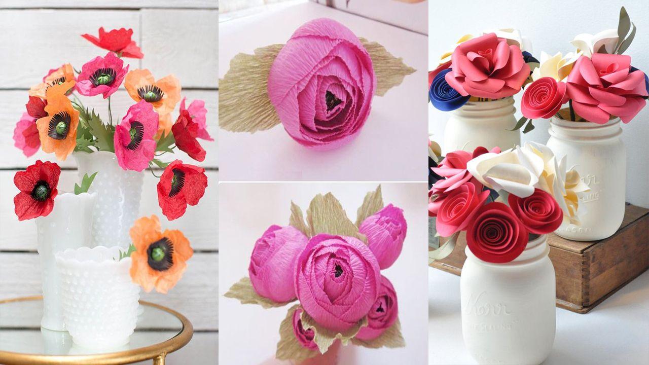 12 Diy Made Paper Flowers Diy Paper Flowers Making Diy Paper