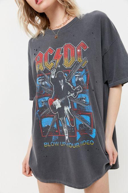 Ac Dc Distressed T Shirt Dress Distressed T Shirt Dress T Shirt Dress Vintage Shirts