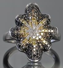 1 Carat Black, White & Yellow Diamond Ring