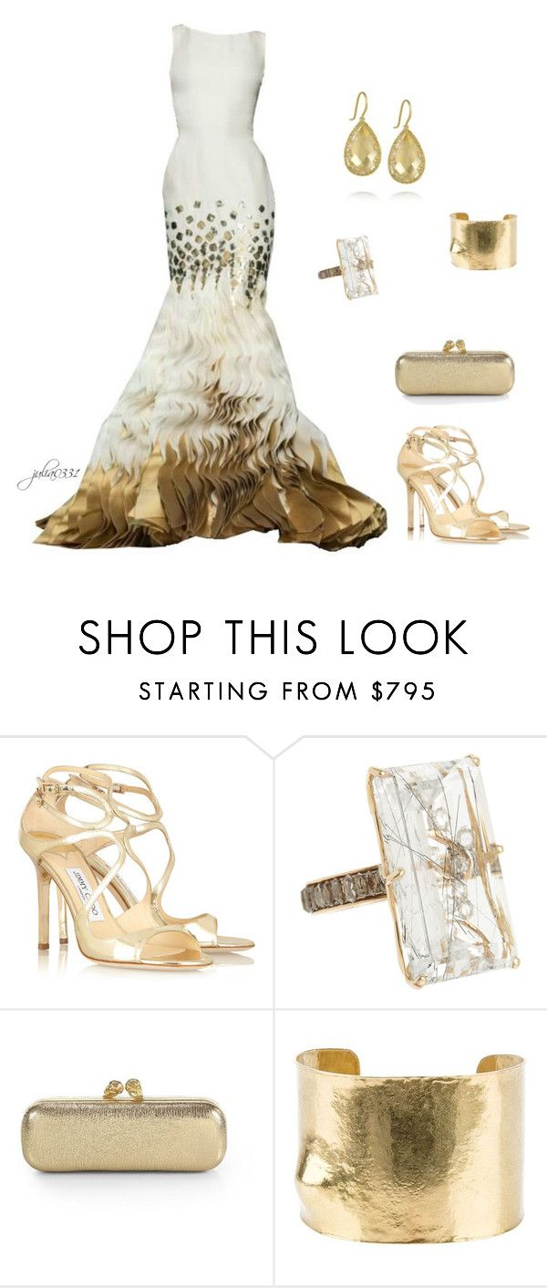 """""""Untitled #1169"""" by julia0331 ❤ liked on Polyvore featuring Jimmy Choo, Rettore, Alexander McQueen and Wouters & Hendrix Gold"""