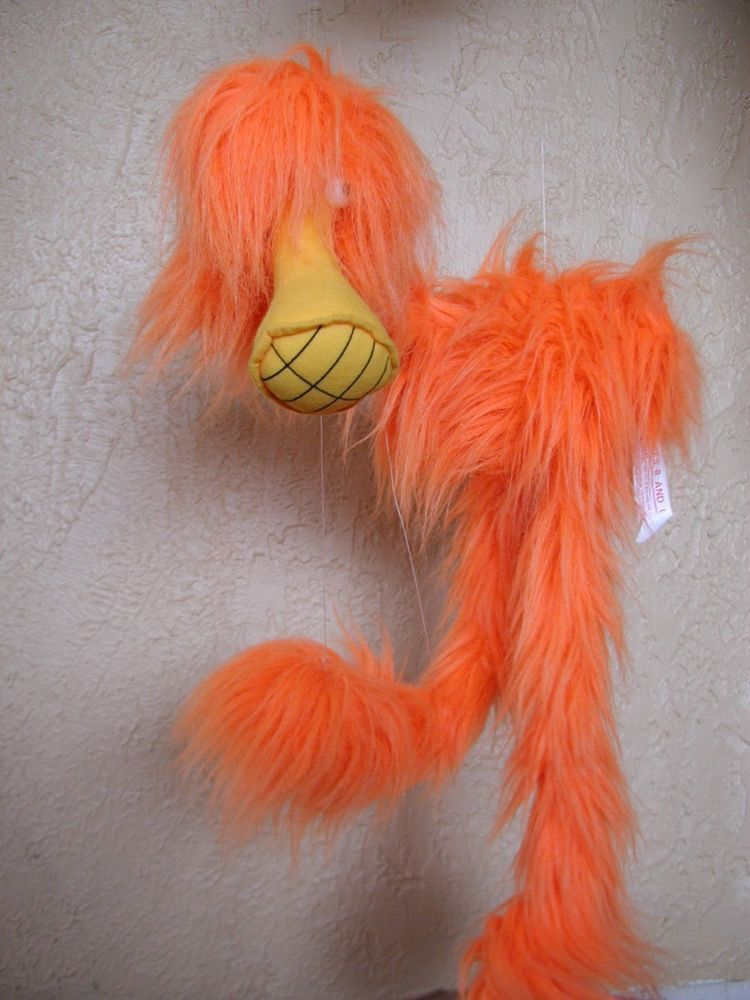 vintage great american fun co fuzzy orange monster puppet