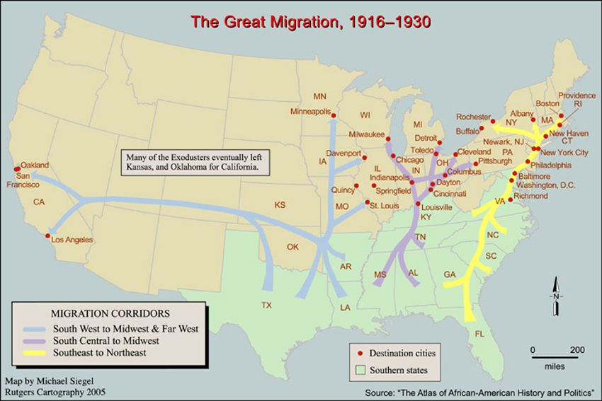 Map of the Great Migration | History | The great migration, African History Of Migration Map on