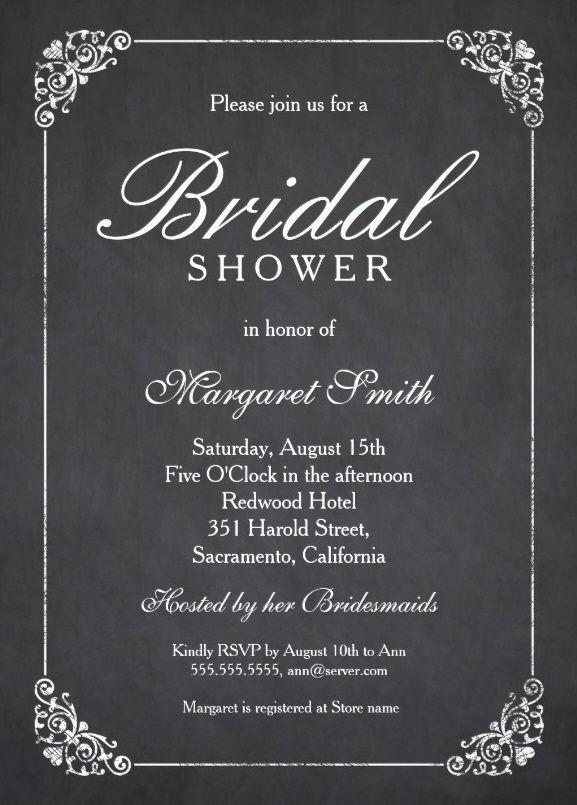 Elegant Chalkboard Bridal Shower Invitation Template   Online