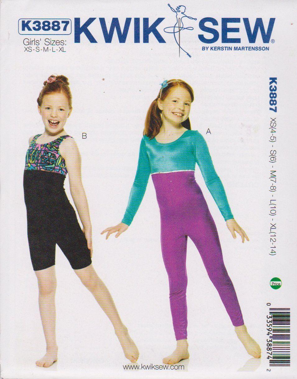 Kwik Sew Sewing Pattern 3887 Girls Size 4-14 Unitard Dance Skate ...