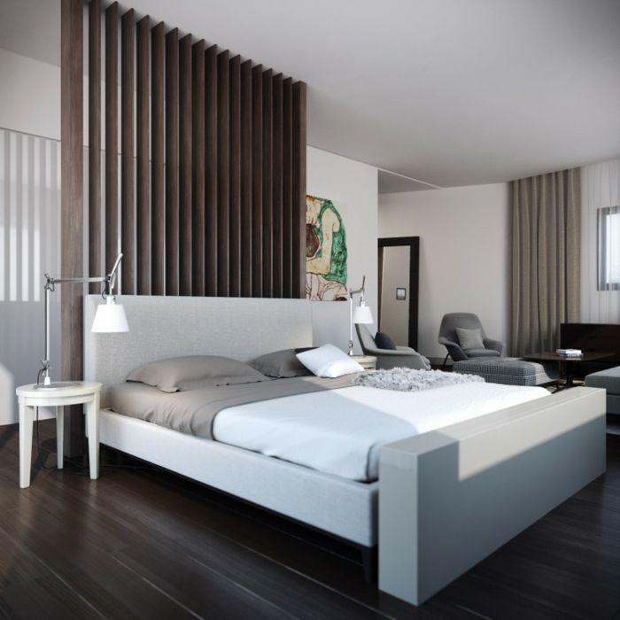 GroB Wohnideen Schlafzimmer Neutral Schlicht Beistelltische Dunkler Boden