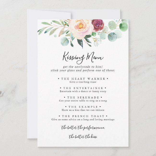 Contemporary Floral Wedding Kissing Menu Game Card Zazzle Com Wedding Kiss Wedding Kissing Games Floral Wedding