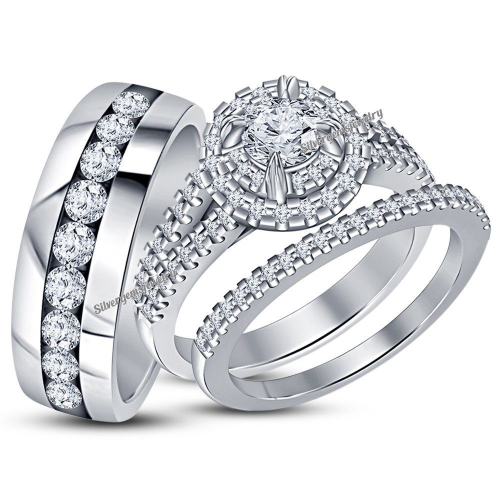 trio matching rings gold diamond mens com for set white band wedding her dp womens bands amazon