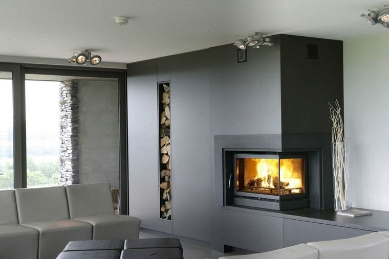 chimeneas modernas salon pared negro madera ideas