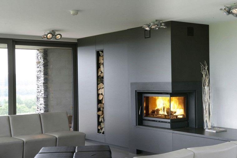 chimeneas modernas salon pared negro madera ideas Interiores con