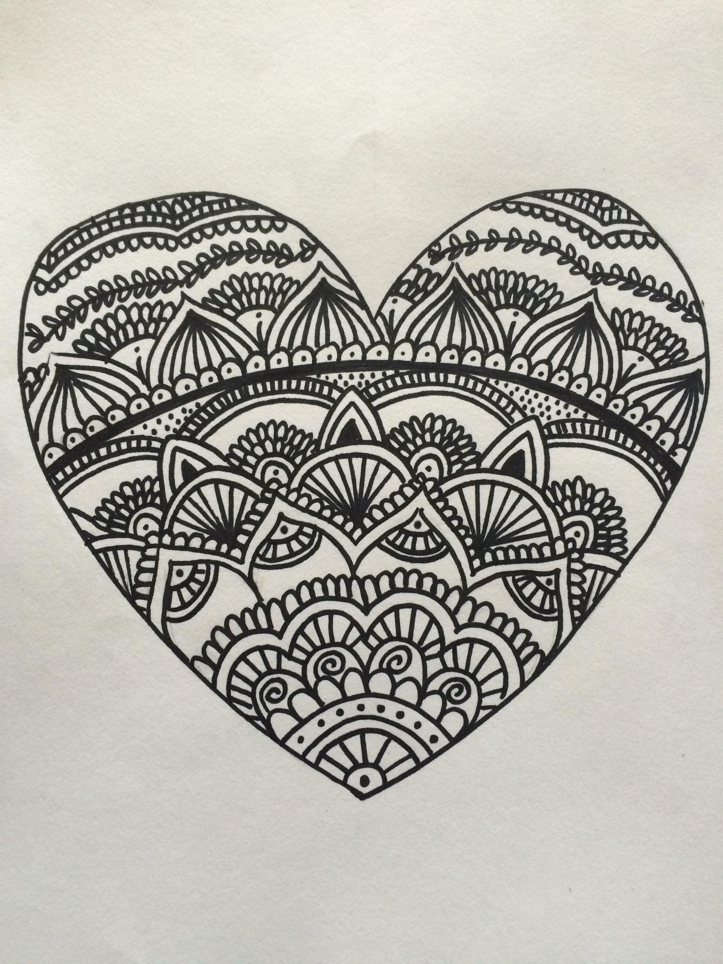 Corazón zentangle art | My crafts | Pinterest | Zentangle y Mandalas