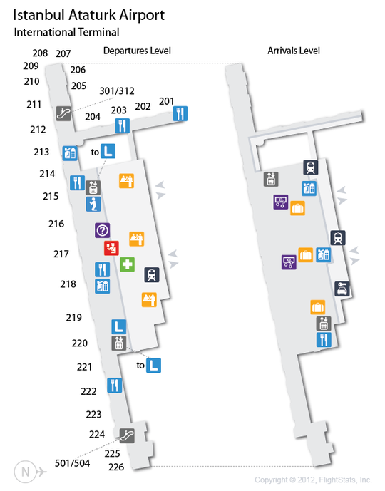 IST) Istanbul Ataturk Airport Terminal Map | airports | Pinterest ...