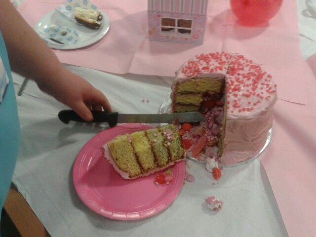 Inside pinatta cake!