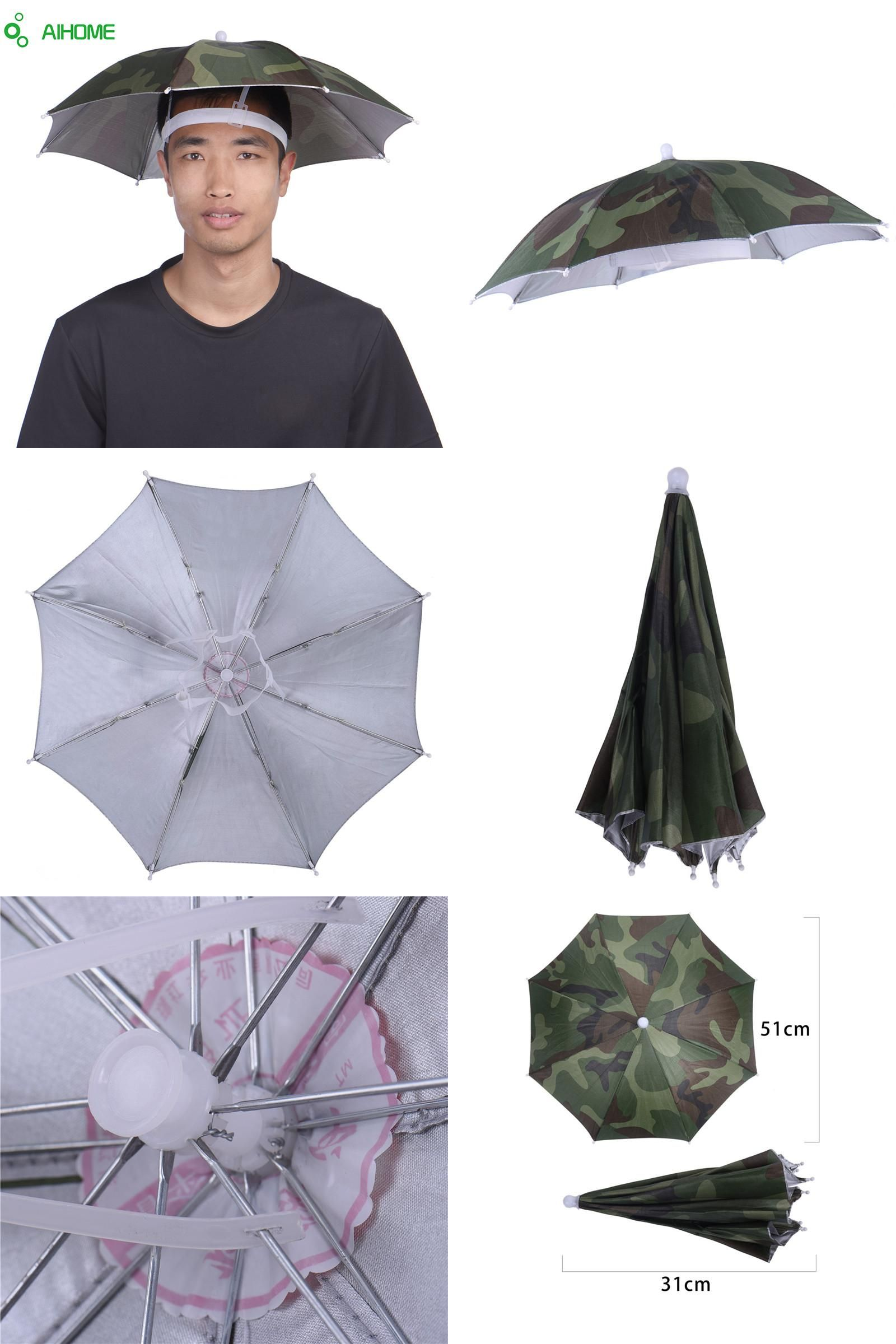 Visit To Camouflage Foldable Headwear Sun Umbrella Fishing Hiking Beach Camping Cap