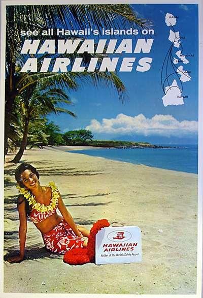 """HAWAII TRAVEL POSTER"" circa 1960"