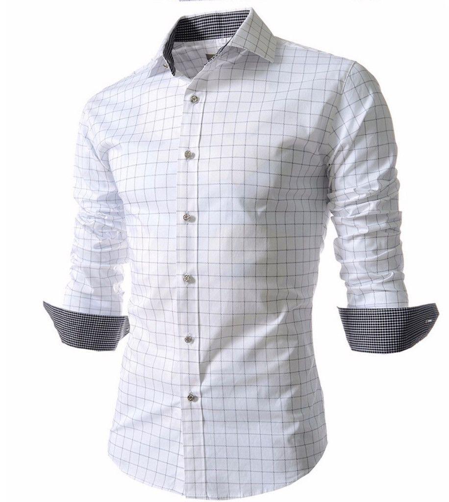 Menus stylish checkered slim fit long sleeve dress shirt gömlek