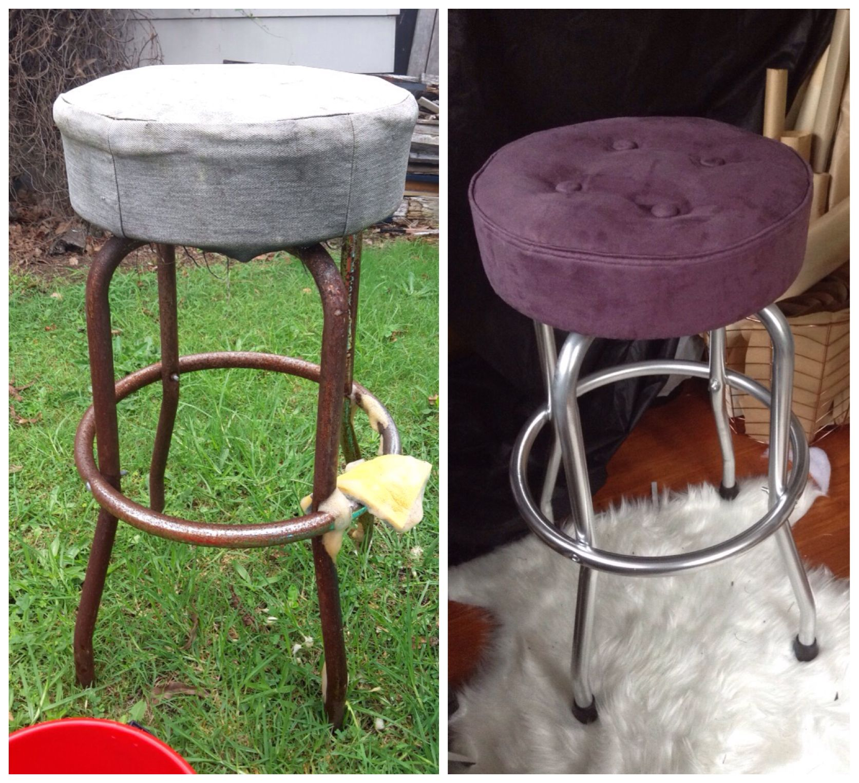 DIY bar stool upcycle for my workroom Had to remove a lot of rust ...
