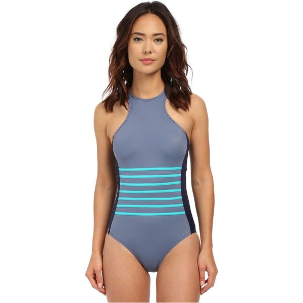 DKNY A Lister Racer Front Maillot w/ Stripping Detail Removable Soft Cups (Currant) Women's Swimsuits One Piece featuring polyvore, women's fashion, clothing, swimwear, one-piece swimsuits, red, one piece bathing suits, racerback swimsuit, one piece swimsuit, red swimsuit and high neck one piece bathing suit